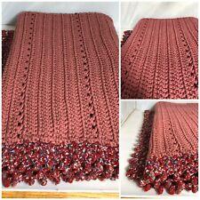 Hand Made Blanket Crochet Knit Afghan Dark Rose Color Throw