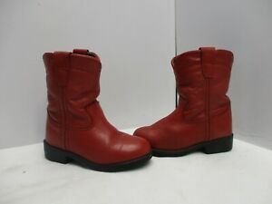 Justin Red Leather Roper Western Cowboy Boots Toddler Size 5 D