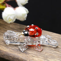 Glass Cute Ladybug Figurine Crystal Paperweight Collectible Decor Ornament Gift