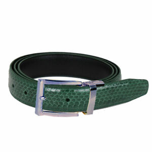 Men's Forest Green Snake Skin Leather Belt With Silver Buckle