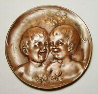 """CLAUDE BONNEFOND ~ Antique Bronze """"Children/Boys"""" Plaque (#4746) ~ France"""
