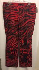 DKNY Jeans Women Sz 13 Black Red Tiger Lion 35/32 Pants MSRP $68