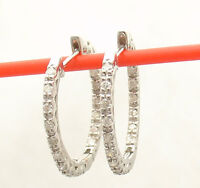 0.54 tcw Inside Out Prong Set Natural Diamond Hoop Earrings REAL 925 Silver
