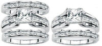 Women's 925 sterling silver Princess Cut Wedding  Ring set band or ring