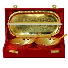 Apple Brass Decorative Serving Bowl Tray Set Centerpiece Gold Floral Motifs