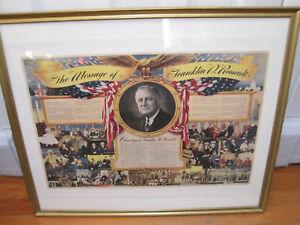 Original FDR Democrat Political Print Tribute Franklin D Roosevelt c1944
