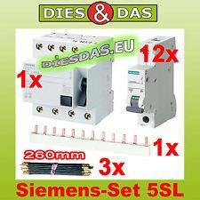 Siemens Fi Schalter  40/0,03A  Sicherung B16A  + Brücke + 3 Phasenschiene