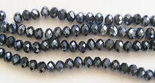 20 Abacus Faceted Cristal Perles De Verre-Noir - 10 mm x 7 mm