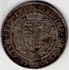 1901 GREAT BRITAIN HALF 1/2 CROWN VICTORIA STERLING SILVER COIN