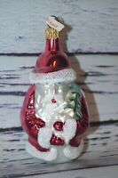 Vintage Glass Christmas Ornament Santa Made in Poland