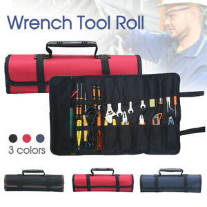 22 Pocket Tool Wrench Tool Roll Spanner Case Canvas Storage Bag Up Fold