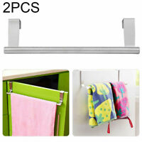 2Pc Over Door Storage Hanging Towel Rail Hanger Kitchen Cabinet Holder Rack Set