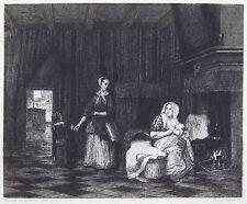 [Peau de vélin] —COURTRY / PIETER DE HOOCH — La Nourrice — 1873 — Eau-forte