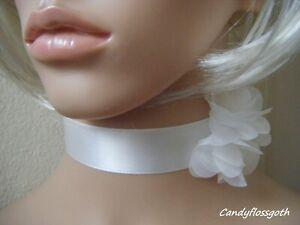Lovely white satin satin white chiffon flower choker  * UK made*