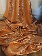 Orange Gold Paisley Metallic Brocade Fabric 58'' PRICE PER METER
