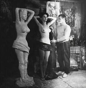 Vintage 1960s Bunny Yeager Photograph Artist Lewis Vandercar w/ Model in Studio