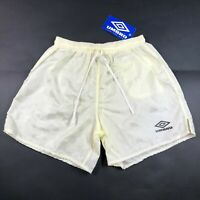 NWT Vintage 90s Umbro Nylon Checkered Mens S Soccer Shorts Yellow Made in USA