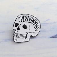 Creative Punk OVERTHINKING Skull Enamel Brooch Lapel Denim Jacket Pin Badge