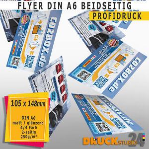 DIN A6 Flyer drucken · BEIDSEITIG 250g /m²  GLANZ 1000  Stück