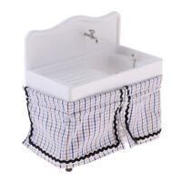 1/12 Dollhouse Miniature Bathroom Furniture Ceramic Hand Basin Sink w/ Cloth