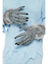 GREY Licantropo MANI adulti WOLF GUANTI HALLOWEEN FANCY DRESS ACCESSORIO