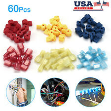 60Pcs T-Taps 22-10 AWG Insulated Quick Splice Wire Terminal Connectors Combo Kit
