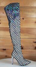 CR GiGi 51 Silver Hologram Fishnet Full Zipper Pointy Toe High Heel OTK Boot