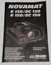 Originale Aneitung für Diaprojektor Braun Novamat E 130/EC 130, E 150/EC 150