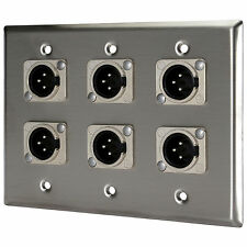 Pro Co WP3004 (6) XLR Male Wallplate Triple Gang