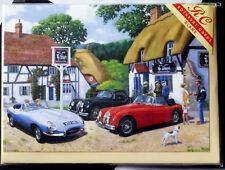 THE JAGUAR CLUB - Classic Jaguars outside a country pub - Blank Card