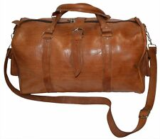 Leather Duffle Travel Bag Sport Gym Duffel Carry On Luggage Baggage XL Brown