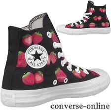 Womens CONVERSE All Star BLACK PINK STRAWBERRY HI TOP Trainers Boots SIZE UK 5.5