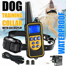 Pet Dog Training Collar Rechargeable Electric Shock LCD Display 800 M Range UK