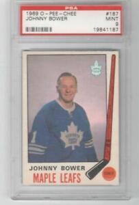 1969 OPC O-Pee-Chee # 187 Johnny Bower PSA 9 MINT Toronto Maple Leafs