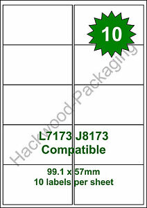 10 Labels per Sheet x 100 Sheets White Matt Copier Inkjet Laser