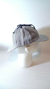 Jhats Sherlock Holmes Detective Hat Costume Party Black/White Houndstooth Unisex