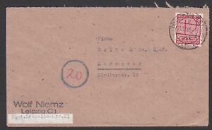 Germany. Soviet Zone. West Saxony. Imperf 12pf Cover to Hanover. Sent 21/12/1945