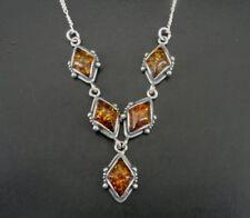 "Amber Diamond Shape Stones Sterling 925 Silver V Dangle Choker 16"" Necklace"