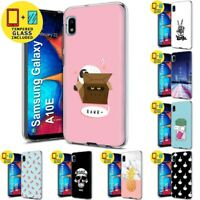 Gel Phone Case Cover For Samsung Galaxy A10E,Cat Box Style Print,Tempered Glass