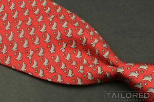 "HERMES 5341 TA Red BUNNY RABBIT DOG 100% Silk Mens Luxury Tie RARE - 3.75"""