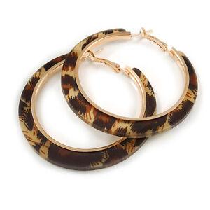Trendy Brown/ Black Animal Print Acrylic Hoop Earrings In Gold Tone - 60mm