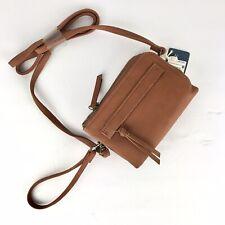Universal Thread Women's Cognac Faux Leather Small Crossbody Wristlet Bag