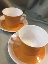 2 Sets Of Mikasa Duplex Orange Ben Seibel  Mugs And Saucers Cups White C 1971
