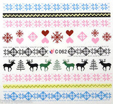 Christmas Reindeer Snowflakes Xmas Nail Art Stickers Nail Water Decals C062
