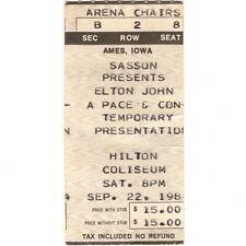 ELTON JOHN Concert Ticket Stub AMES IA 9/22/84 HILTON BREAKING HEARTS TOUR Rare