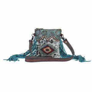 New Myra Bag Viridian Tooled Leather Hairon Calf Hair Turquoise Western Fringe
