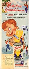 1941 WW2 era Ad LIBBY'S Canned Pineapple Juice Great Cartoon Art 090315