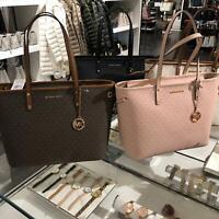 Michael Kors Women PVC Leather Large Shoulder Tote Bag Handbag Purse Black Brown