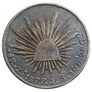1877 Zs JS Mexico Silver 8 Reales KM #377.13, VF Condition