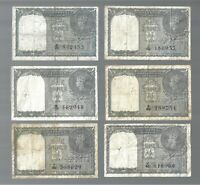 India ✨ KG VI  1 Rupee  X 6 Banknotes ✨ Collections & Lots #1901